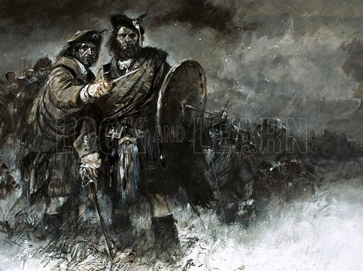 Scottish soldiers of the army of Bonnie Prince Charlie at the Battle of Culloden, 1746. The cause of Bonnie Prince Charlie and his courageous Highlanders was doomed from the start. Even a surprise attack failed because they lost thier way in the dark. Original artwork from Look and Learn no. 750 (29 May 1976).
