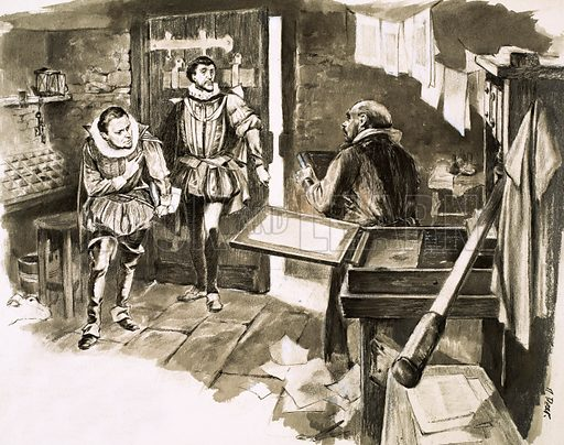 The Lost Treasures of Shakespeare. The invention of the printing press led to the mass production of books, including many works of William Shakespeare. Original artwork from Look and Learn no. 109 (15 February 1964).