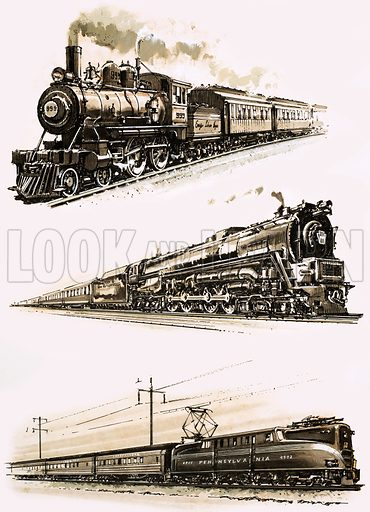 The End of the Line: Station Amid the Skyscrapers. (Top to bottom): The no. 999 of the New York Central Railroad which hauled the Empire State Express; a non-condensing turbine train of the Pennsylvania Railroad; the electric Chicago-New York Express. Original artwork from Look and Learn no. 784 (22 January 1977).