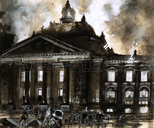 The Night They Burned the Reichstag. A young Dutchman, Marinus van der Lubbe, was blamed for setting fire to the Reichstag, Germany's House of Parliament, in 1933. Original artwork from Look and Learn no. 121 (9 May 1964).