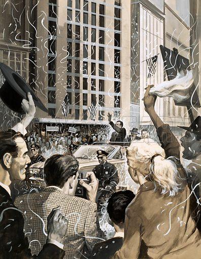 Unidentified ticker tape parade in America. Original artwork.