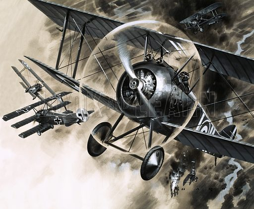 Unidentified dog fight between British biplanes and a German triplane. Oriignal artwork (dated 23/10/71).