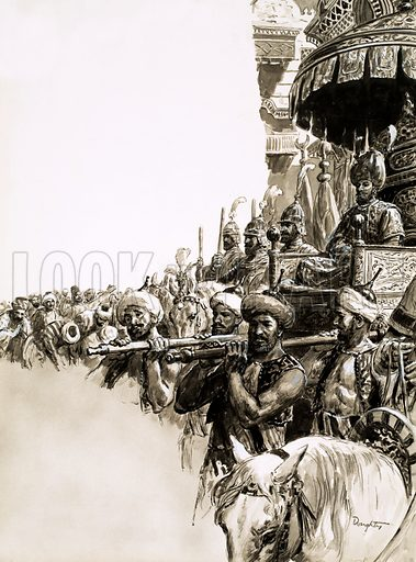 Mighty Monarchs: He Never Heard the Victory Call. On his ascention to the throne, Suleiman the Magnificent was given an enthusiastic welcome by the people of Constantinople, his capital. Original artwork from Look and Learn no. 537 (29 April 1972).