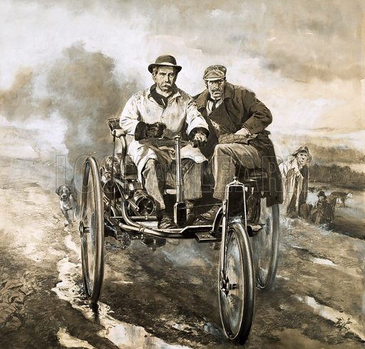 Birth of the motor car: German engineer Carl Benz and his Benz Patent Motorwagen, 1885. On a damp, misty spring morning in 1885, Benz and his partner, Max Rose, emerged from their workshop pushing a queer tricycle-like contraption. Original artwork from Look and Learn no. 136 (22 August 1964).