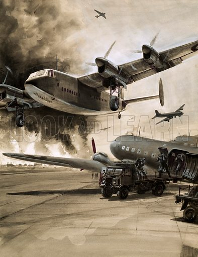 Unidentified aircraft with town aflame in background. Original artwork.