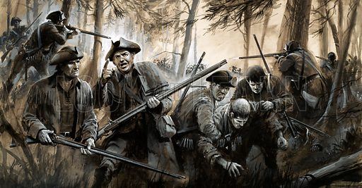 Into Battle: America's Hour of Destiny. Persued by British soldiers, George Washington's men fell back through the bleak winter countryside in a retreat that was soon to turn to victory. Original artwork from Look and Learn no. 86 (7 September 1963).