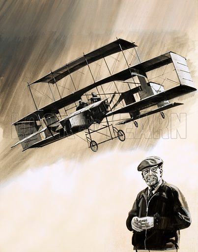 Men and Machines: Adventurer of the Air. John Moore-Brabazon became the first Englishman to fly in England in a French Voisin plane. Portrait is of him in later life after he had been created Lord Brabazon of Tara. Original artwork from Look and Learn no. 686 (8 March 1975).
