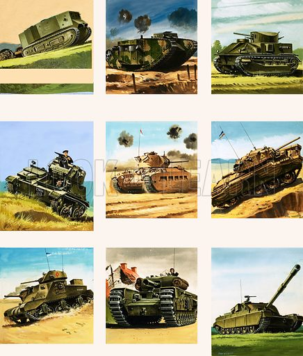 From Then Till Now: Tanks Go Into Action. Tanks from the First and Second World Wars. Original artwork from Look and Learn no. 79 (20 July 1963).