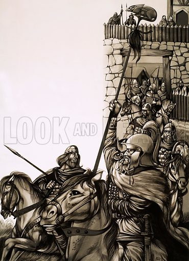 Castles of the World: Camelot – Fact or Fiction? Camelot, the castle from which King Arthur and his Knights of the Round Table rode out to perform their heroic deeds. Original artwork from Treasure no. 418 (16 January 1971).