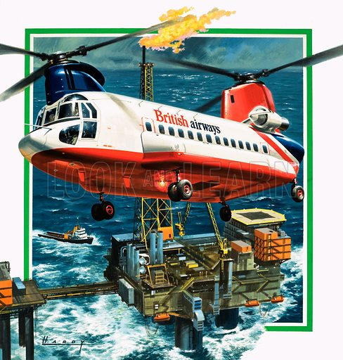 The Helicopter is Growing Up. A Chinook helicopter transporter arrives at an oil rig in the North Sea. Original artwork for cover of Look and Learn no. 974 (8 November 1980).