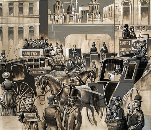 Victorian street scene. Original artwork from Treasure.