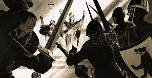 The murder of Thomas a Becket. Original artwork for issue no 1 of The Bible Story.