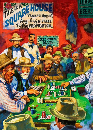 The Law of the West: At the End of the Trail. Cowboys, dry and dusty and paid after weeks on the cattle trails, liked nothing more than to let of steam. A faro table could be found in almost every saloon, the object of the game to bet on the correct card of two dealt by the dealer. Original artwork from Look and Learn no. 1032 (19 December 1981).