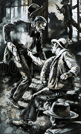 The Law of the West: At the End of the Trail. Cowboys, dry and dusty and paid after weeks on the cattle trails, liked nothing more than to let of steam. The shooting of Ed Masterson by a druken cowboy in Dodge City. Original artwork from Look and Learn no. 1032 (19 December 1981).