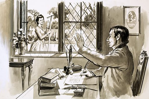 Dorothy and William Wordsworth, picture, image, illustration