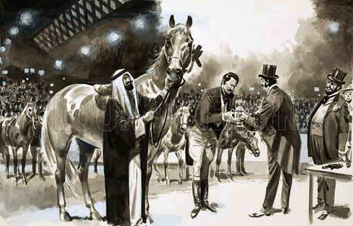 Famous Hoaxes: The Horse of the Year. Brian Hughes successfully hoaxed the New York Horse Show in 1907, entering (under the name of Lord Cotwell) a $15 baker's horse. Original artwork from Look and Learn no. 278 (13 May 1967).