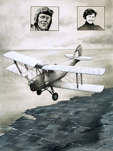 Top Of Its Class: The Mighty Moth. The De Havilland Moth with, inset, portraits of pilots Francis Chichester and Amy Johnson. Original artwork from Look and Learn no. 779 (18 December 1976).