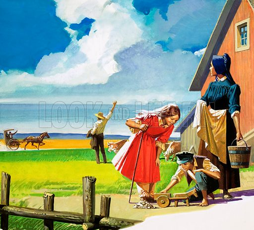 Unidentified American rural scene with Quaker (?) family. Original artwork.