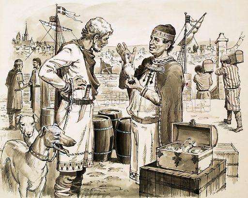 Phoenecian (?) traders. Original artwork.