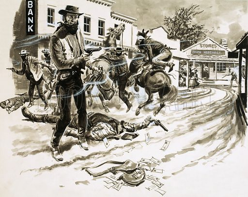 Cole Younger, a member of Jesse James' outlaw gang, in a shoot-out after a bank robbery in the Wild West. Original artwork from Look and Learn no. 262 (21 January 1967).