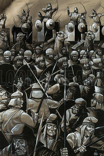 Unidentified battle with swordsmen and archers. Original artwork (dated 1/1/72).