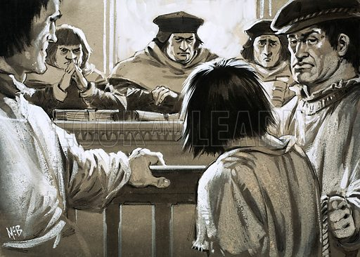 It's the Law: Corruption in Court. Prisoners could expect no mercy from the dreaded Court of Star Chamber, established in 1487 by Henry VII who used it to bring powerful nobles under control. Under Charles I it became notorious for the ruthless penalties it imposed. Original artwork from Look and Learn no. 1004 (6 June 1981).