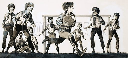 The Eternal Sportsman: What William Did... William Webb Ellis picked up the ball and ran with it... and invented rugby. Original artwork from Look and Learn no. 481 (3 April 1971).