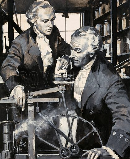James Watt: The Man Who Harnessed Steam. Original artwork from Look and Learn no. 41 (27 October 1962; reused in Look and Learn no. 519, 25 December 1971).