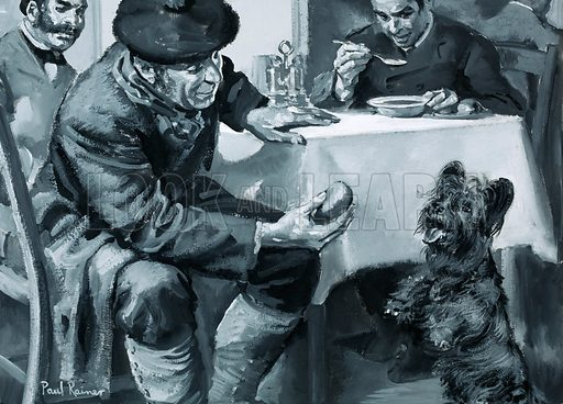 Unidentified restaurant scene of man eating soup and another feeding dog. Original artwork (dated 17/12/68).