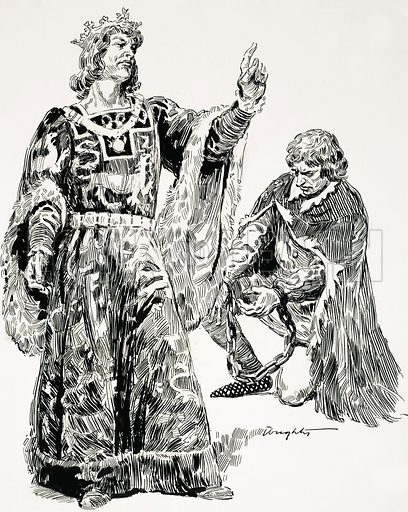 Mighty Monarchs: The She-Wolf of France. Edward the Third had none of the former King's failings and he and his friends seized Roger Mortimer, leader of the rebel forces from France, and brought him to London in chains. Original artwork from Look and Learn no. 535 (15 April 1972).