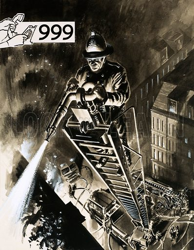 Fireman on ladder.  Original artwork.