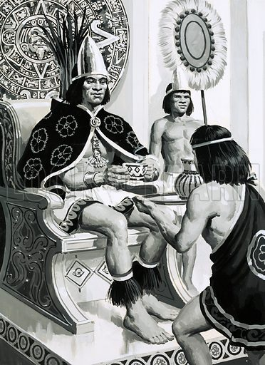 Aztec Emperor Montezuma being served a drink of cocoa. Montezuma liked drinking cocoa so much that his servants brought him fifty cups a day. Original artwork from Look and Learn no. 697 (24 May 1975).