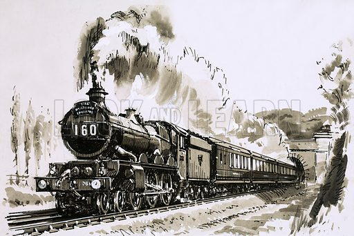 The End of the Line: Gateway to the West. The famous 4–6-0 'Castle' class of steam locomotives used by Great Western for hauling long-distance express trains. Original artwork from Look and Learn no. 787 (12 February 1977).