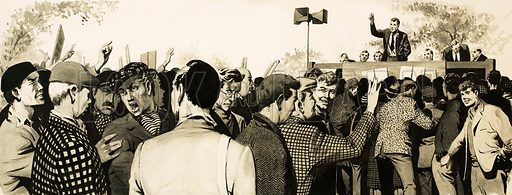 The Socialists: Britain's Youngest Party. Trade unionists at an open air meeting. Original artwork from Look and Learn no. 133 (1 August 1964).