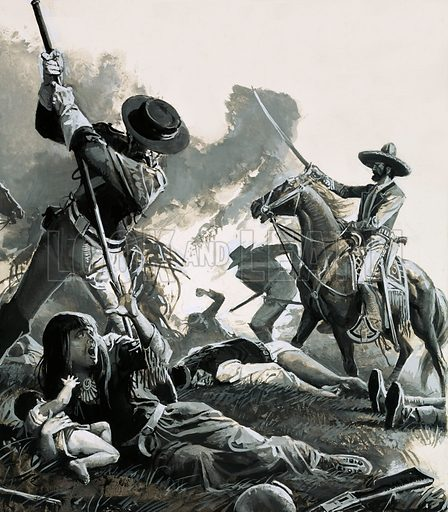 Mexican cavalry attacking an Apache camp and killing the family of Geronimo, 1851. Original artwork from Look and Learn no. 915 (4 August 1979).