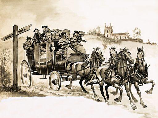 A stagecoach to York. Original artwork.
