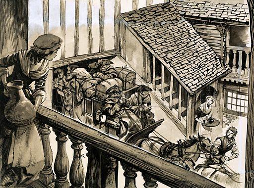 Stagecoach enters a courtyard. Original artwork.