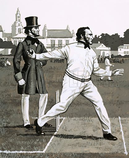 """Sporting Diary: """"Round-Arm"""" Revolution. Cricketer Alfred Mynn in 1853, bowling with the controversial """"round-arm"""" action. Original artwork from Look and Learn no. 701 (21 June 1975)."""