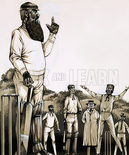 Flannelled Fools and Muddied Oafs. The great W G Grace at the wicket. Original artwork from Look and Learn no. 477 (6 March 1971).