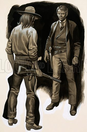 Gunfight at Holbrook. Commadore Perry Owens was the new Sheriff of Holbrook, Arizona. His first task was to arrest horse rustler Andy Cooper. Original artwork from Look and Learn no. 496 (17 July 1971).