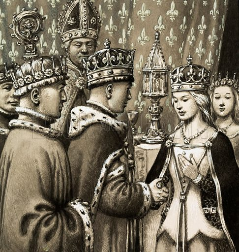 Mighty Monarchs: King Harry For England! A month after being acknowledged the future King of France, Henry V made his position more secure by marrying Princess Katherine of France. Original artwork from Look and Learn no. 514 (20 November 1971).