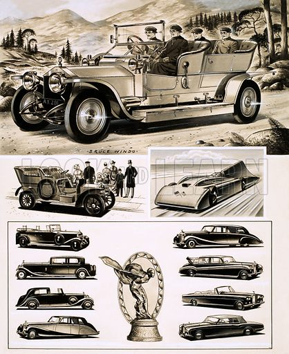 Rolls and Royce. (Top) The original Rolls-Royce Silver Ghost; (middle, LtoR): Rolls-Royce from 1905 and Sir Malcolm Campbell's Blue Bird; (bottom left), Phantom I Tourer, Phantom II Sports Salooon, Phantom III Sedanca-De-Ville; Silver Wraith Touring Limousine (centre) the Spirit of Ecstasy radiator emblem; (right) Phantom IV Limousine, Phantom V Landaulette, Silver Cloud III Drophead Coupe and Silver Shadow Drophead Coupe. Oriignal artwork from Look and Learn no. 384 (24 May 1969).