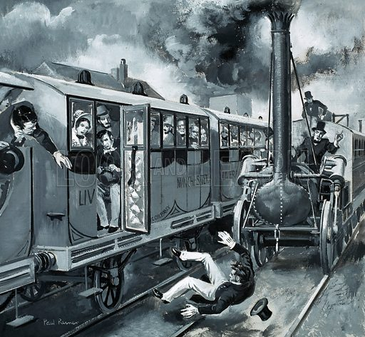 """Death of English MP William Huskisson, run down by George Stephenson's locomotive """"Rocket"""" on the Liverpool and Manchester Railway, 1830. The day the first railway to carry goods and passengers was inaugurated was memorable as also the day Huskisson became the first to die in a rail accident. Original artwork from Look and Learn no. 678 (11 January 1975)."""