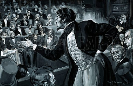"""Who Said…? """"Through I sit down now, the time will come when you will hear me."""" Benjamin Disraeli during his maiden speech to Parliament, 7 December 1837. Original artwork from Look and Learn no. 268 (4 March 1967)."""