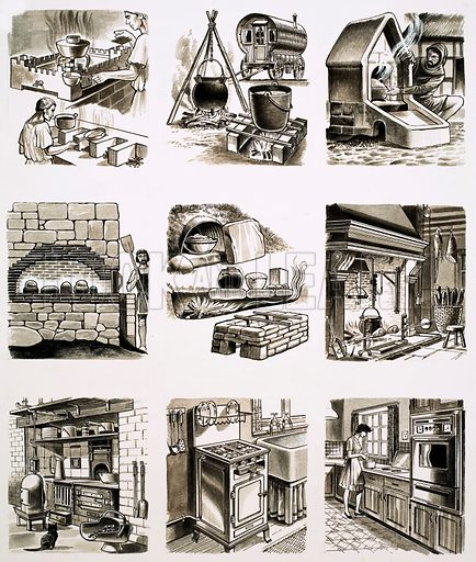 From Then Till Now: What's Cooking? Ovens through the ages. Original artwork from Look and Learn no. 709 (16 August 1975).