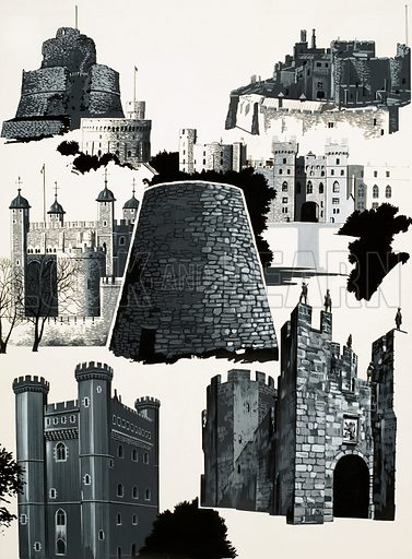Your Heritage: Castles Before the Conquest. (Top row): Launceston, Windsor, Berkeley; (centre) Tower of London, a Broch; (bottom) Tattershall, Alnwick. Original artwork from Look and Learn no. 709 (16 August 1975).