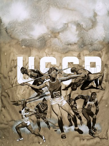 Unidentified Russian athletes. Original artwork.