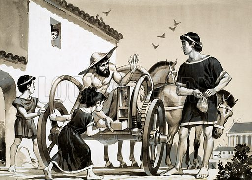 Merchant selling items off the back of a chariot in Roman times. Original artwork.
