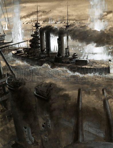 Moments That Made History: Clash of the Fleets. Admiral Sir David Beatty's flagship, The Lion, turns towards the German fleet during the Battle of Jutland. Original artwork from Look and Learn no. 171 (24 April 1965).