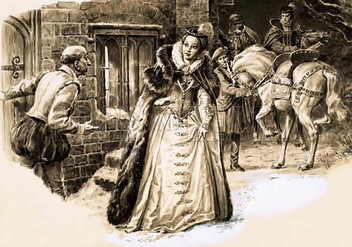 Murder Most Foul: The Death of Darnley. Snow was on the ground when Mary Queen of Scots came to visit the smallpox-stricken husband Lord Darnley. Three hours later the little house he was in was blown to pieces by gunpowder. Original artwork from Look and Learn no. 513 (13 November 1971).